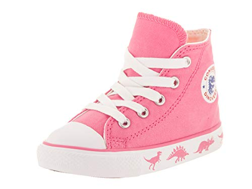 (Converse Boys Infants' Chuck Taylor All Star Dinoverse High Top Sneaker, Pink White, 10 M US)