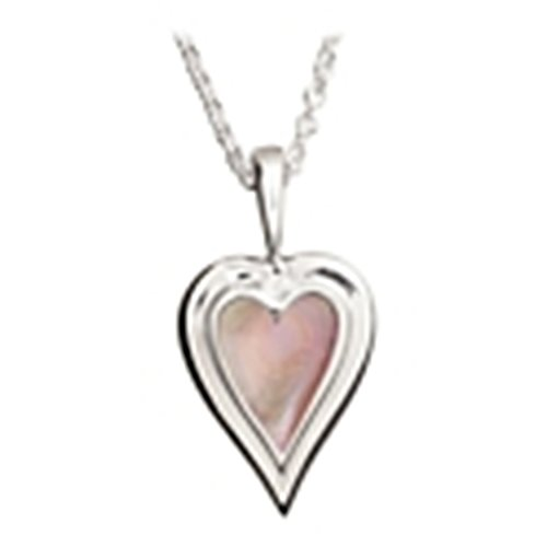 (Kabana Sterling Silver Pink Mother of Pearl Heart Pendant with Chain)