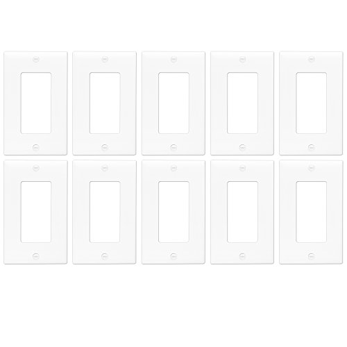 Decorator Switch Wall Plate by Enerlites 8831-W | Home Outlet Cover, 1-Gang Standard Size, for Paddle Rockers, GFCI Devices, Timers, Dimmers, Sensors - Unbreakable Polycarbonate, White, 10-Pack - Outlet Wall Plate Cover