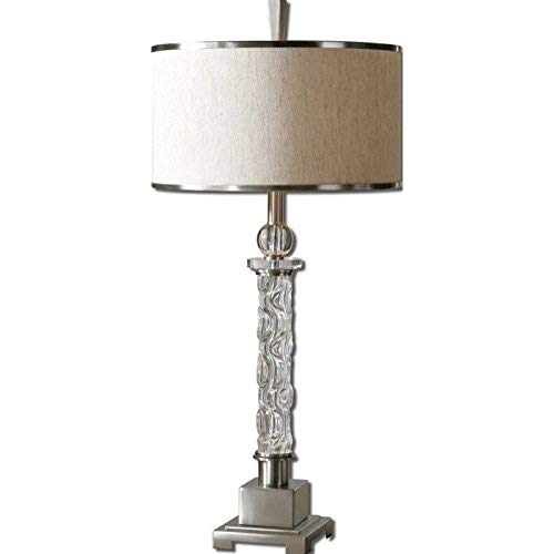 Uttermost 26762-1 Campania Lamp, Carved Glass Base, 35.3