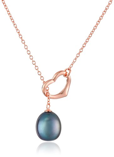 11mm Freshwater Black Cultured Pearl (Rose Gold Over Sterling Silver Open Heart Shape 10.5-11mm Black Cultured Freshwater Pearl Chain Pendant Necklace)
