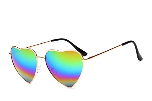 Chezi Women's Metal Colorful Iridium Coated Lens Heart Sunglasses (gold, - Frame Heart Wire Sunglasses