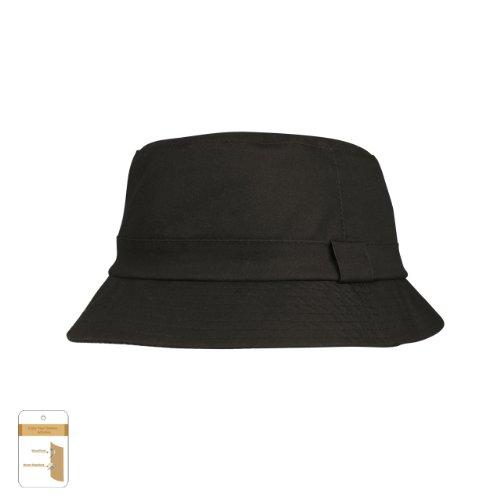 Juniper Unisex Waxed Cotton Canvas Bucket Hat-J9702-Black-S
