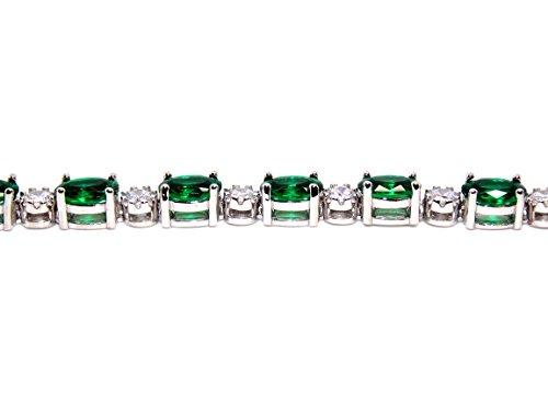 En argent sterling 925émeraude et Bracelet de Tennis de diamant 7.86CT (Argent 925)