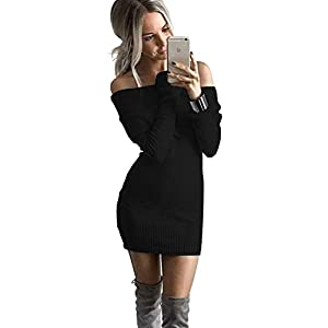 ALAIX Womens Sexy Off Shoulder Long Sleeve Pencil Bodycon Knitted Sweater Mini Dress Pullover-Black