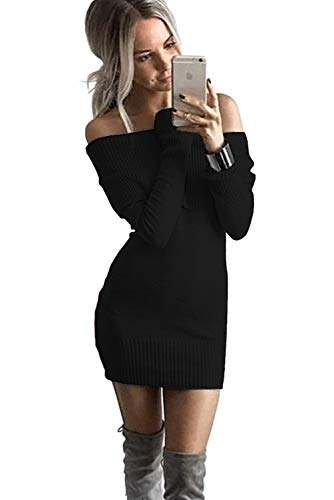 ALAIX Womens Sexy Off Shoulder Long Sleeve Pencil Bodycon Knitted Sweater Mini Dress ()