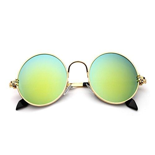 YONGLIANG Outdoor-Zubehör Tinte Runden Rahmen Prince Spiegel Runden Sonnenbrille Männer Und Frauen Retro-Sonnenbrille UV-Sonnenbrille Strand Reise Unerlässlich (Color : Gold) (Gold-sonnenbrillen Für Männer)