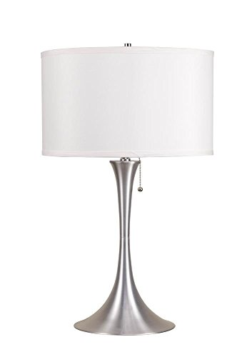 Major-Q 6272T LED 27 H Modern Brushed Steel Base Table Lamp with White Fabric Shade and LED Light Bulb