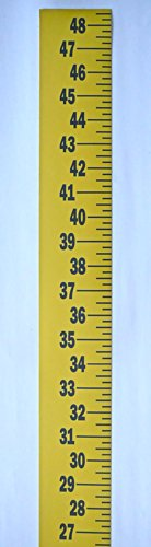 """(Extra Wide Ruler – Adhesive Backed – 3 Inch Wide X 48 Inch Long – Vertical Up – Fractional – 1/4"""" Grads – Yellow)"""
