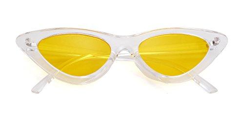 para ojo protección vintage mujeres niñas gato de Kurt sol de Cobain Blanco gafas de sol 1 Amarillo Transparente Marco estilo de Gafas retro ADEWU de Lente Gafas qnzt8vv