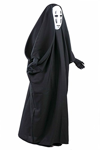 Danyer Fancy No-Face Spirited Away Cosplay Costume with Mask Gloves for Halloween (S(Height 150-165cm))
