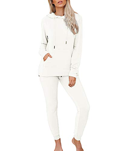 Women's Solid Lounge Sets Tracksuit Jogging Suits Long Sleeve Hoodie and Drawstring Sweatpants 2 Piece Outfit