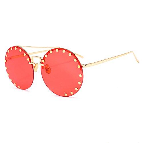 Sol De Red Vintage Femeninas De Redondas Gafas Y Masculinas Gafas Rivet Hip Red Douerye Hop xHUwfqC