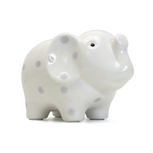 amic Elephant Piggy Bank, White with Gray Polka Dots (Baby Dot Ceramic)