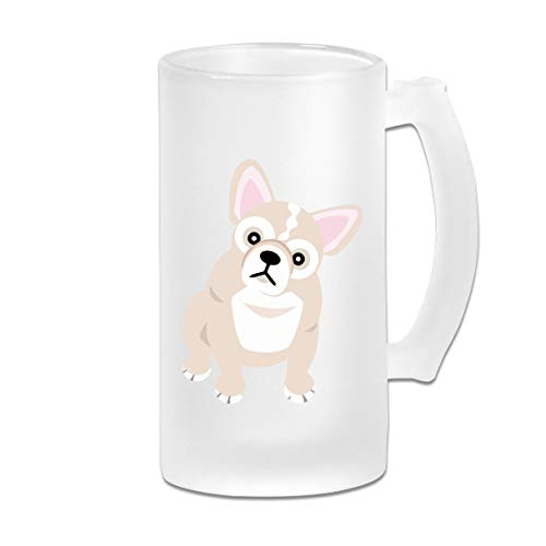 French Bulldog Blonde Glass Beer Mug Tumbler With Handle, 16 OZ / 500 ML Large Pub Beer Glass For ()