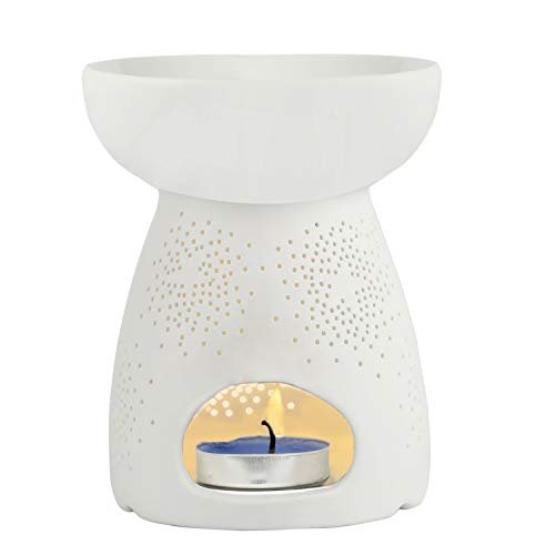 Tea Light Holders, Aromatherapy Essential Oil Wax Tart Warmers Burners Melter Diffusers Aroma Ceramic Candle Holder Night Light Lamp Porcelain Decoration for Parlor Bedroom Carved Star Shape White
