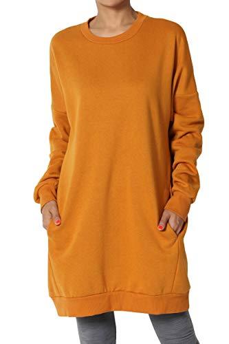 (TheMogan Women's Casual Crew Neck Pocket Loose Sweatshirt Tunic D. Mustard 3XL)