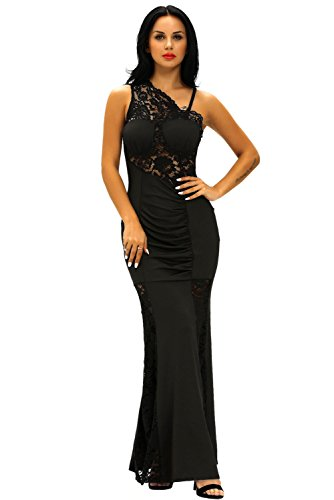 (Fashion Women's Sexy Lace Insert One Shoulder Party Evening Dresses Ball Gown (Large, Black/Lace))