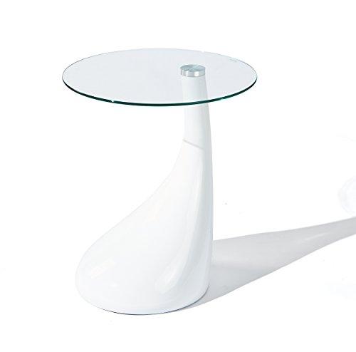 Design Beistelltisch 45 cm in Hochglanz weiß aus Glas Dekor wählbar, Farbe:Weiß