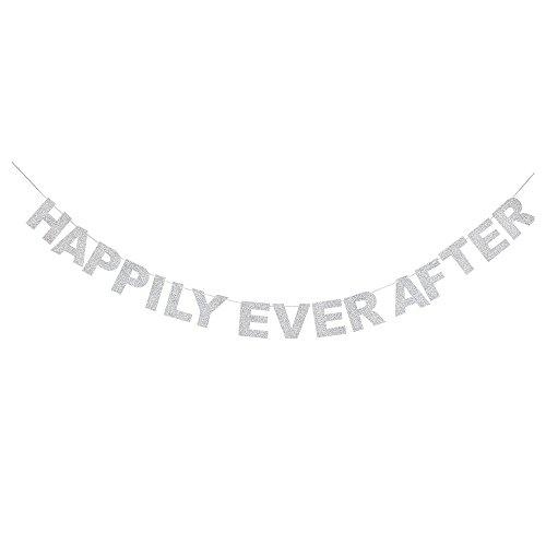 Happily Ever After Silver Glitter Theme Bunting Banner For Wedding Decor Bunting Photo Props Signs Garland Bridal Shower Party Creative Decorations.