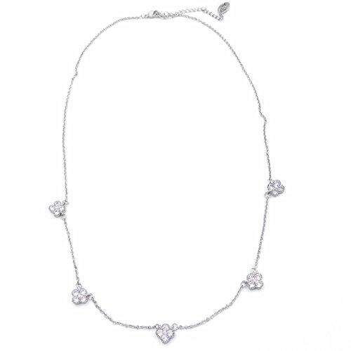 14K Radiant Cubic Zirconia 5 Mini Clover Flower Necklace - White Gold (Louis Vuitton Pendant)