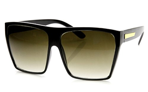 WebDeals -Large Oversized Square Flat Top Fashion Retro Sunglasses (Black, Black Gradient - Sunglasses Retro Square