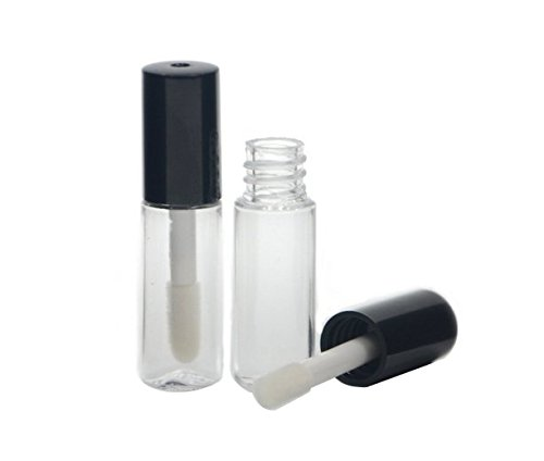 12 PCS 3ML Cute Black Cap Reusable Empty Lip Gloss Balm Tube