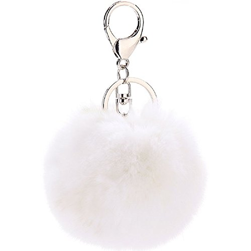 CHMING Cute Genuine Rabbit Fur Ball Pom Pom Keychain For Car Key Ring Handbag Tote Bag Pendant