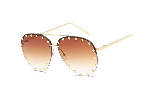 New outdoor, street shooting, travel, beach metal HD sunglasses European and American men, ladies sunglasses goggles glasses, rivets, fashion sunglasses ( Color : 1 )