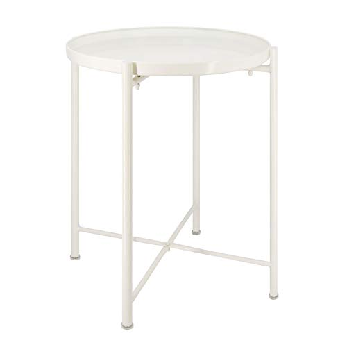 Round Side Table Accent Table Removable and Waterproof End Tables Metal Side Table for Living Room Bedroom Balcony Office (White)
