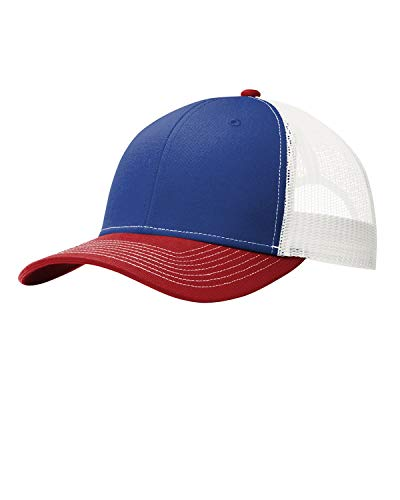 - Port Authority Men's Snapback Cap, Patriot Blue/Flame Red/White, One Size