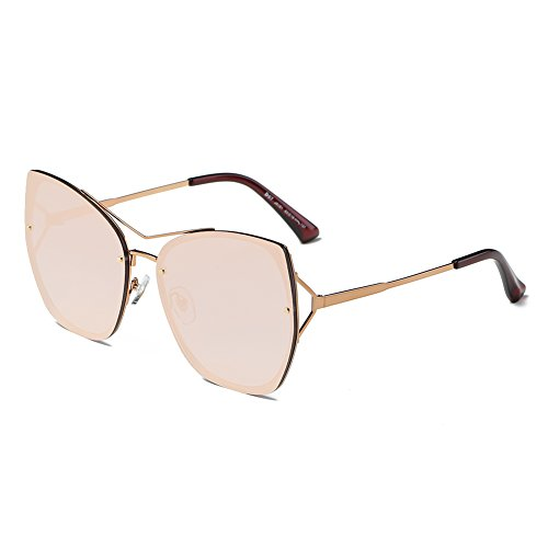 DONNA Trendy Oversized Mirrored Sunglasses Flat Flash Lens Square Cat Eye Shades D97(Rose - Glass Latest Eye Frames