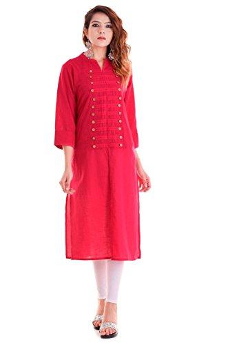 Chichi Indian Women Kurta Kurti 3/4 Sleeve Small Size Plain Straight Red Top by CHI