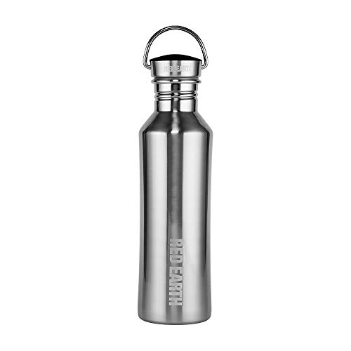 RED EARTH OUTDOOR Bruce 720 Sports Water Bottle Stainless Steel Single Wall 18oz with Wide Mouth BPA Free for Hiking/Outdoors/Sports-Silver