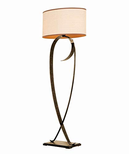 Kalco 899AC Rodeo Drive - Two Light Floor Lamp, Antique Copper Finish with Natural Fabric Shade