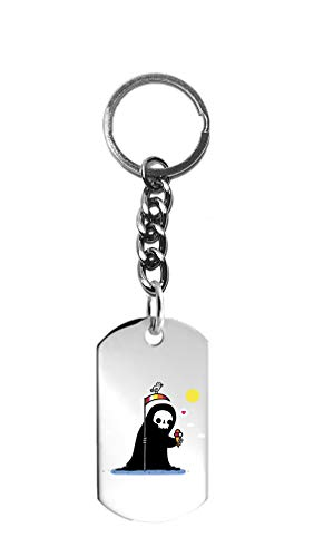 (Randy Otter Happy Death Grim Reaper w/Ice Cream - 3D Color Printed Metal Ring Key Chain Keychain)