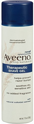 Aveeno Therapeutic Shave Gel with Oat and Vitamin E to Help Prevent Razor Bumps and Soothe Dry and Sensitive Skin, No Added Fragrances and Non-Comedogenic, 7 oz (Pack of 5)