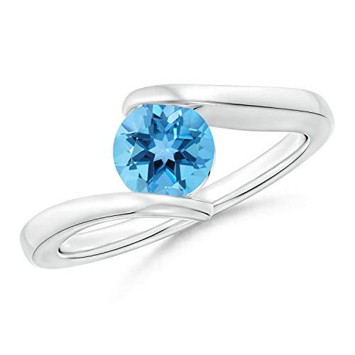 Bar-Set Solitaire Round Swiss Blue Topaz Bypass Ring in 14K White Gold (6mm Swiss Blue Topaz)