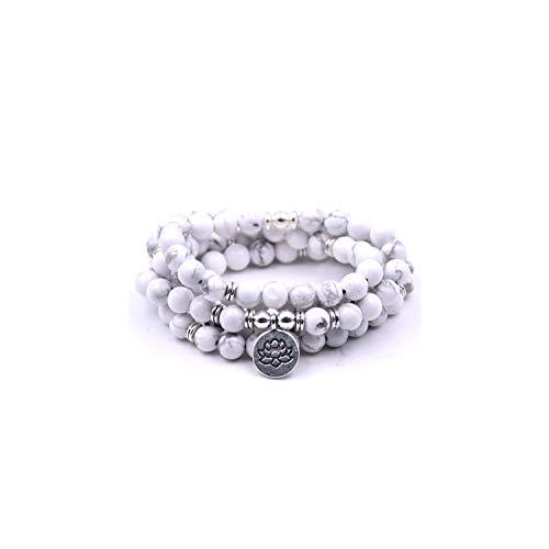 VBTY Beaded Stretch Bracelet, Stone Beads,18 Colors Women Amazonite 108 Mala Beads Bracelets Lotus Charm Yogi Bracelet Necklace Fashion Jewelry White ()