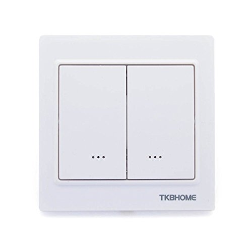 TKB TZ57 Double Relay Wall Switch, Cornered Frame, White
