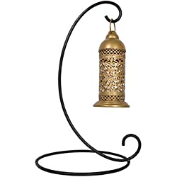 Lal Haveli Golden Moroccan Style Candle Lantern - Great for Patio, Indoors/Outdoors, Events, Parties and Weddings