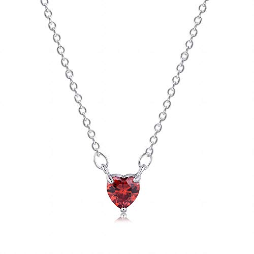 JIN European and American Fashion The Girl Mini Heart-Shaped Crystal Grenadine red Love Heart Zircon Necklace Collarbone Chain Pendants Necklace Pendant Necklace for Womens ()