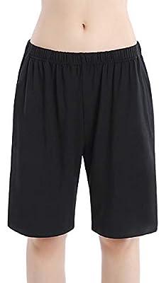 HBY Women Pajamas Shorts Cotton Black Long Sleep Shorts Stretchy Lounge Shorts with Pockets