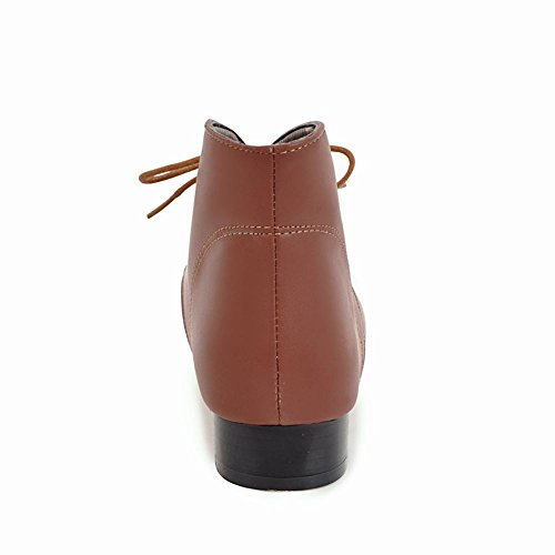 Carolbar Womens Lace Up Pointed Toe Retro Fashion Low Heel Oxfords Boots Brown Vm6eK6Rq