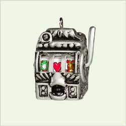 Hallmark 2005 Mini Ornament LUCKY SLOT MACHINE - DIE-CAST METAL Really (Slot Machine Ornament)