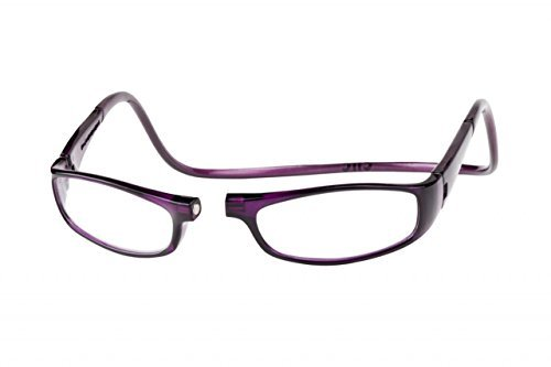 Purple Euro Adjustable Front-connect Hanging Magnetic Reading Glasses by CliC