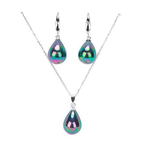 (Rakumi Sterling Silver Oval Dyed-Green Seashell Pearl Pendant Necklace&Earrings Jewelry Set)