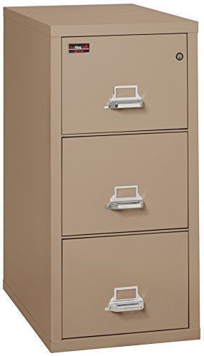 Taupe Vertical File Cabinet (Fireking Fireproof 2 Hour Rated Vertical File Cabinet (3 Legal Sized Drawers, Impact Resistant, Waterproof), 43.44
