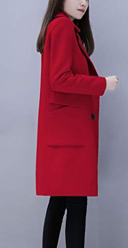 chouyatou Women's Basic Wool Blend Pea Coat-Red