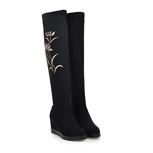 TANGOGO Women's Thigh High Snow Boots Winter Casual High Heels Wedge Knee High Boots Soft Flock Long Shoes ()